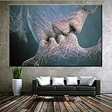 QJXX Arte Inspirador Adán Y Eva Cuadros En Lienzo Wall Art Abstract Picture Artwork para La...