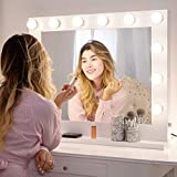 Chende Hollywood Espejo de Maquillaje con iluminación Ajustable para cosmético (80cm x 65cm, Blanco)