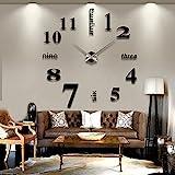 Reloj de Pared 3D con Números Adhesivos DIY Bricolaje Moderno Decoración Adorno para Hogar...