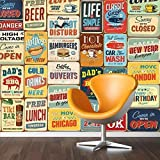 Walplus 152 x 161 cm Pegatinas de Pared Vintage Metal Sign Collage 1 Pack extraíble Adhesivo Mural Art Adhesivos Vinilo decoración del...