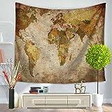 GuDoQi Tapiz Mapa del Mundo Creativo Tapiz de Pared Decoración de Pared Decoración del Hogar...
