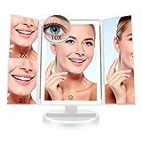 FASCINATE Espejo Maquillaje con Luz,Tríptica Aumentos 10x, 3X, 2X,1x Magnetismo Extraíble Espejo 10 Aumentos Rotación Ajustable de 180°...