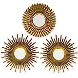 BONNYCO Espejos Pared Decorativos Dorados Pack 3 Espejos Decorativos Ideales para Decoracion Casa, Habitación y Salón | Espejos Redondos...