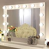 Chende Blanco Espejo de Maquillaje con Luz, Espejo Hollywood de Tocador para Pared, Espejo LED Profesional Grande para Teatro con 14 Luces...