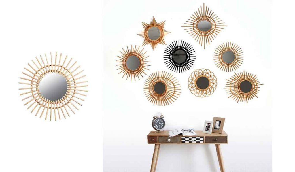 conjunto de espejos de mimbre, con forma de sol, estrella y redondos