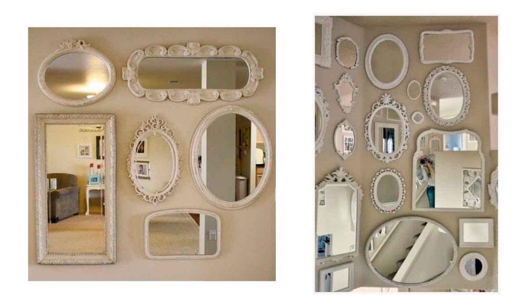 conjunto de espejos blancos