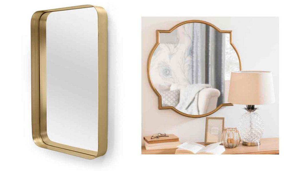 espejo color dorado con marco de metal
