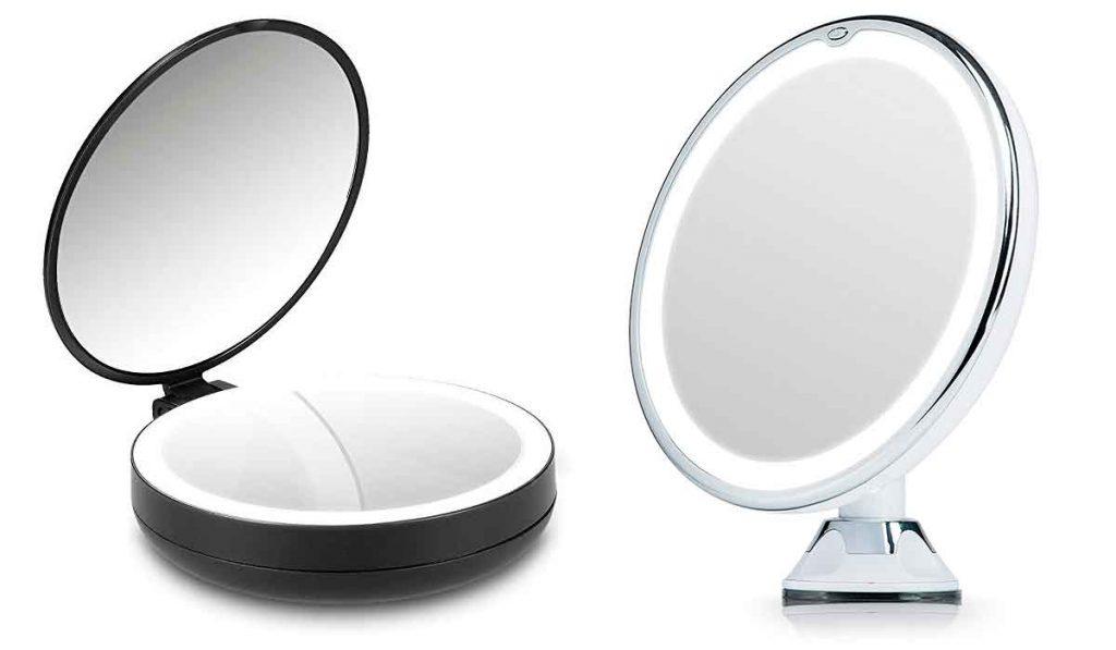 espejo de mano con luz