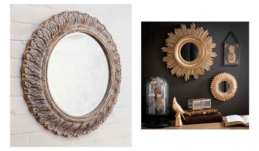 espejo redondo con marco de madera
