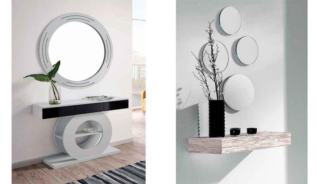 espejos blancos de madera para recibidor