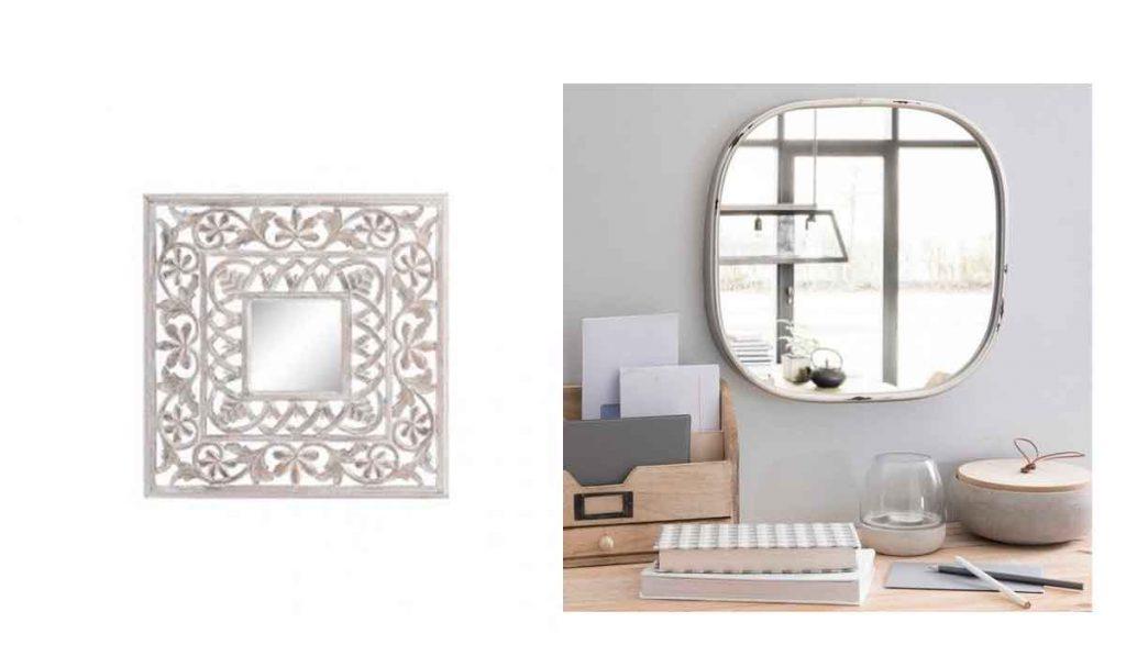 espejos blancos de metal