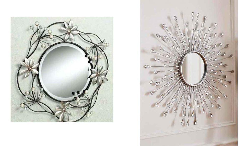 espejo de metal plateado