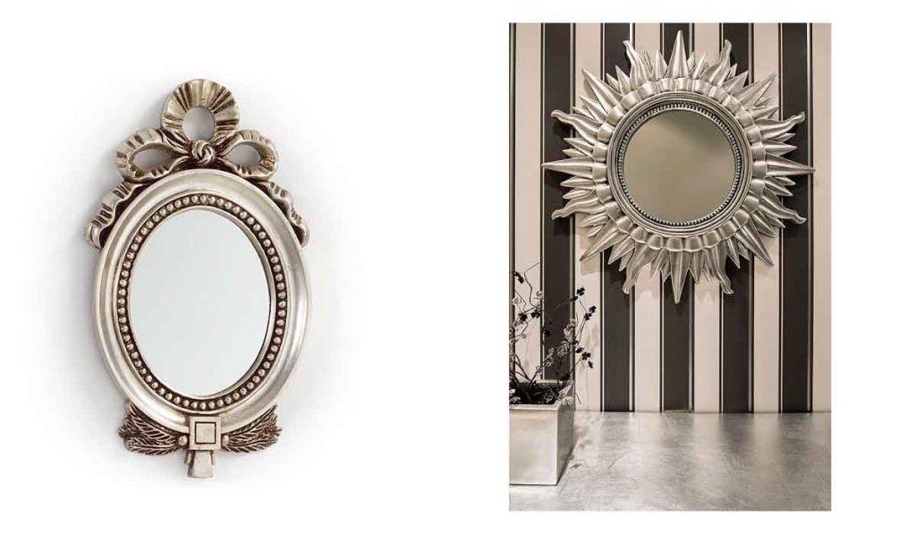 espejo plata con marco de madera