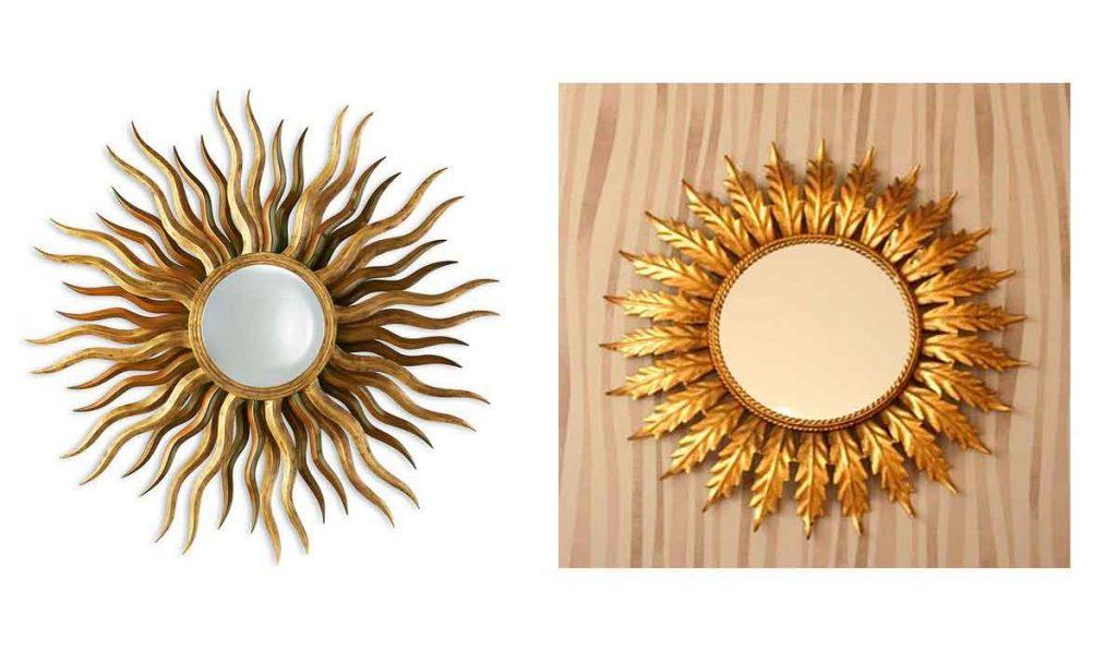 espejos redondos con forma de sol