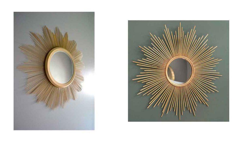espejo redondo con marco de metal